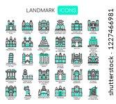 landmark   thin line and pixel... | Shutterstock .eps vector #1227466981