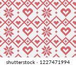 winter holiday seamless knitted ... | Shutterstock .eps vector #1227471994