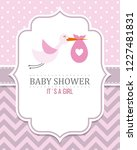 baby shower card. stork with...   Shutterstock .eps vector #1227481831