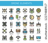 drone elements   thin line and... | Shutterstock .eps vector #1227488917