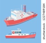 water transport ferry with...   Shutterstock .eps vector #1227489184