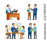 boss praising office worker...   Shutterstock .eps vector #1227489247