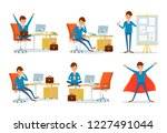 man busy with work  businessman ...   Shutterstock .eps vector #1227491044