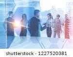 business team members working... | Shutterstock . vector #1227520381