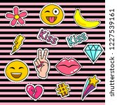 fashion patch badges with lips  ... | Shutterstock .eps vector #1227539161