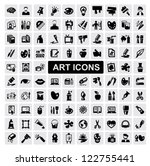 vector black art icons set on... | Shutterstock .eps vector #122755441