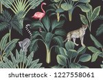 tropical vintage wild animals ... | Shutterstock .eps vector #1227558061