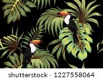 tropical vintage toucan  palm... | Shutterstock .eps vector #1227558064