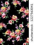watercolor flower pattern black ... | Shutterstock . vector #1227563041