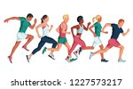 running marathon  people run ... | Shutterstock .eps vector #1227573217