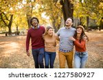 multiracial young people... | Shutterstock . vector #1227580927