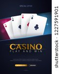 casino banner with casino chips ... | Shutterstock .eps vector #1227591901