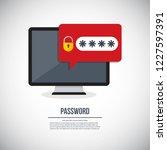 desktop computer with unlocked... | Shutterstock .eps vector #1227597391