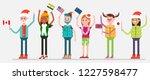 celebrating christmas in world. ... | Shutterstock .eps vector #1227598477