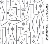 pattern with icons of ninja... | Shutterstock .eps vector #1227620251