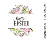 happy easter greeting card with ... | Shutterstock .eps vector #1227628021