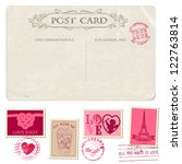 vintage postcard and postage... | Shutterstock .eps vector #122763814