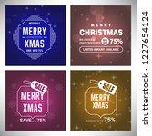 merry christmas typography set...   Shutterstock .eps vector #1227654124