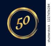 gold button with 50. emblem ... | Shutterstock .eps vector #1227656284