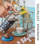 turkish coffee with sugar   Shutterstock . vector #1227667231