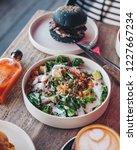 healthy green vegan salad   Shutterstock . vector #1227667234