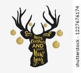 christmas deer.lettering...   Shutterstock .eps vector #1227676174