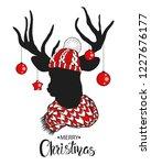christmas deer.lettering...   Shutterstock .eps vector #1227676177
