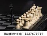 plastic chess closeup on a... | Shutterstock . vector #1227679714