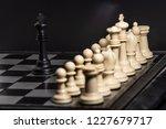 plastic chess closeup on a... | Shutterstock . vector #1227679717