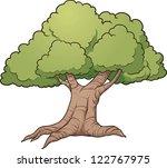 cartoon oak tree. vector clip...