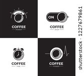 coffee black and white logo set.... | Shutterstock .eps vector #1227679861