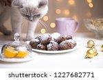 chocolate brownie cookies in... | Shutterstock . vector #1227682771