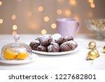 chocolate brownie cookies in... | Shutterstock . vector #1227682801