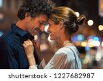 romantic man and woman on... | Shutterstock . vector #1227682987