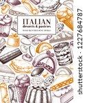 vertical italian desserts... | Shutterstock .eps vector #1227684787