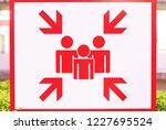 sign indicating gathering spot... | Shutterstock . vector #1227695524