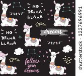 beautiful llama seamless... | Shutterstock .eps vector #1227696991