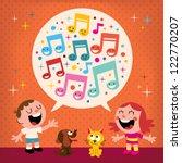 kids singing | Shutterstock .eps vector #122770207