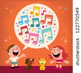 kids singing | Shutterstock . vector #122770549
