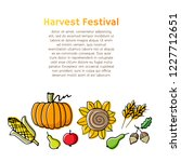 autumn harvest background with... | Shutterstock .eps vector #1227712651