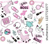 fashion patch badges with girl... | Shutterstock .eps vector #1227723577