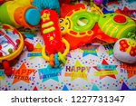 background of children's toys   Shutterstock . vector #1227731347
