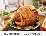 roasted turkey at thanksgiving... | Shutterstock . vector #1227756064