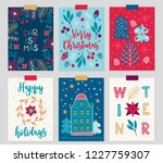 set of christmas greeting cards ... | Shutterstock .eps vector #1227759307