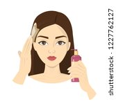 woman applying oil after...   Shutterstock .eps vector #1227762127