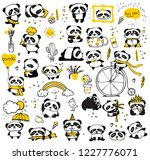 panda doodle kid set. simple... | Shutterstock .eps vector #1227776071
