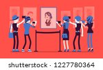 visitors in museum. group of... | Shutterstock .eps vector #1227780364