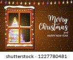 christmas window in wooden wall.... | Shutterstock .eps vector #1227780481
