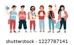 funny joyful children or pupil... | Shutterstock .eps vector #1227787141