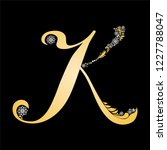 gold letter k  isolated on... | Shutterstock . vector #1227788047